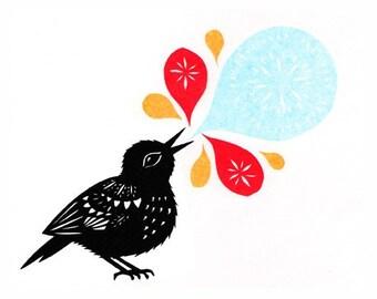 Bird Song - 5 x 7 inchCut Paper Art Print