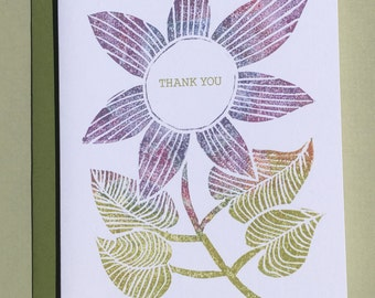 Purple Flower Thank You Note Card