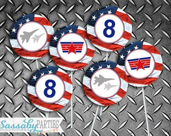 Top Gun Party Circles, Favor Tags, Cupcake Toppers - INSTANT DOWNLOAD - Editable & Printable Birthday Party Decor by Sassaby Parties