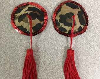 Leopard Print Pasties with Red Tassels