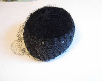 Vintage Black Sequined Velvet Women's Hat with Veiling, Vintage Women's Black Velvet Hat, Vintage Hat
