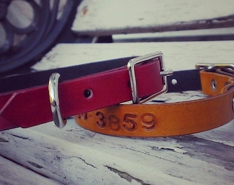 "Cat leather collar 1/2"" - custom cat collar - personalized collar"