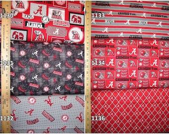 NCAA Alabama Crimson Tide Crimson & Black College Cotton Fabric! Roll Tide! 18 Options [Choose Your Cut Size]