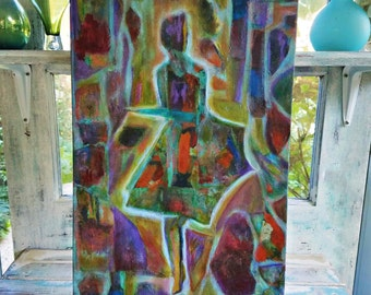 "12 x 24 Mixed Media Abstract Painting from the series, ""Woman"", (#6)"