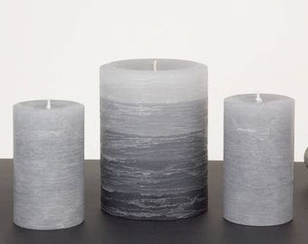 """Gift Set - Gray Pillar Candles - Set of 3 Candles - 1 of the  3 x 4"""" Layered and 2 of the 2 x 3"""" Rustic Pillar Candles - Home Decor"""