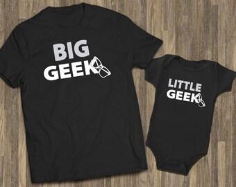 Big Geek Little Geek Black | Father Son Shirts | Father Baby Matching | Daddy Son Matching | Dad Baby Matching | Dad Son Tshirts | Geek Gift