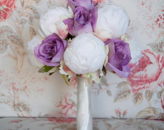 Ivory and Lavender Wedding Bouquet - Ivory Peony and Lavender Rose Wedding Bouquet