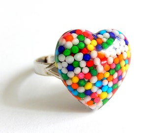 Kawaii Sprinkles Heart Ring, Rainbow Resin Jewelry, Candy Ring