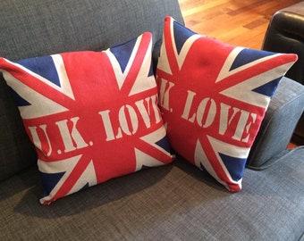 Union Jack cushion covers 36 X 36 cm