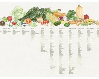 Seasonal produce chart, New England growing seasons, 11x17 poster