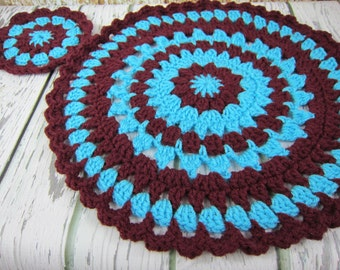 Crochet round placemats, crochet round coasters, table centerpiece, doily, crochet trivet, table linen, turquoise blue and brown