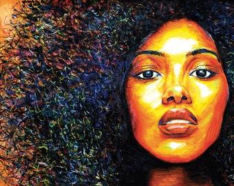 Yellow Sun - Afro Art Print