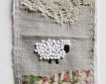 Mini art quilt, sheep, embroidery