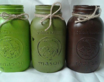 3 Hand painted quart size Mason jars. Rustic vases. Country cottage/ farmhouse decor. Kiwi, olive, and brown. Decorative canning jars.
