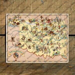Muskogee map Etsy