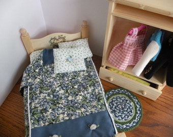 Dollhouse Wooden Barbie Wardrobe, Bed, Linen, and Rug Set 1/6 Scale