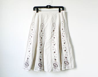 Vintage Floral Embroidered Hippie Skirt - A Line Mexican Boho Cotton Island 90s Midi Skirt - Women's 6