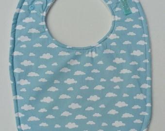 Clouds on Blue Baby Bib, Toddler Bib, Feeding Bib, Full Cover Bib