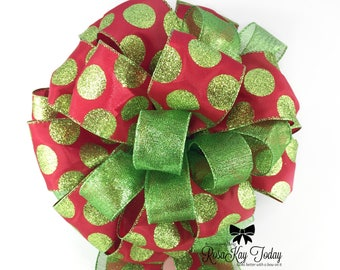 Christmas Bow, Red Bow, Lime Green Bow, Glitter Polka Dots, Tree Topper, Christmas Tree Bow, Christmas Decor, Wreath Bow, Large Bow