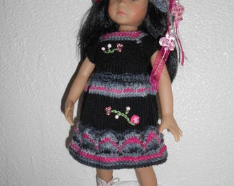 "Doll clothes Little darlings Dianna Effner, 33cm 14 "", dress Cape wool degraded, fuchsia, grey / black"