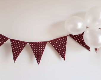 Red wine fabric bachelorette party banner, Cool bridal shower photo prop bunting, White polka dot flags, Cute birthday bunting for big girl