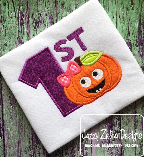 1st Halloween Girl Pumpkin Appliqué embroidery Design - pumpkin Appliqué Design - halloween Appliqué Design - 1st halloween Applique Design