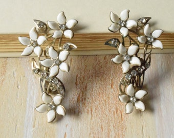 White Flower and Silver Earrings   | 1950's Ear Climber Earrings