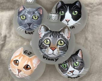 "Custom Cat Ornament (2.75"") - Hand Painted Christmas Ornament"