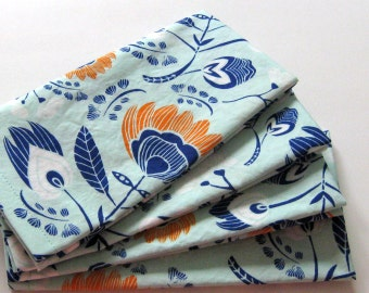 Cloth Napkins - Set of 4 - Aqua Orange Blue Flowers - Large Dinner Napkins,  Table Napkins, Everyday Napkins
