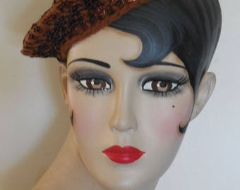 1930 Knitted Copper Sequined Beret Hat