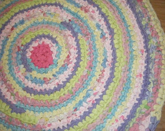 Multi Colors Rag Rug\Color My World Rug\Crochet Round Rug with Multi Colors
