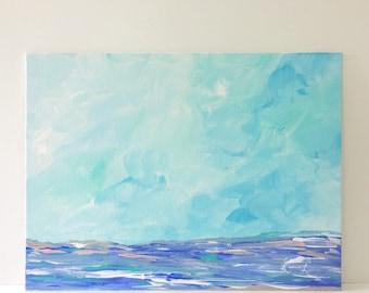 Original Seascape painting acrylic on canvas panel pastel nature art blue teal
