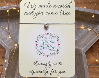 "Patterned 3D heart charm String Bracelet on ""We made a wish"" quote card stars thankyou wish bracelet madebygreenberry"