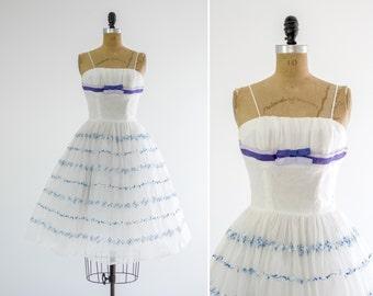 vintage 1950s party dress | 50s tulle dress | vintage white formal prom dress