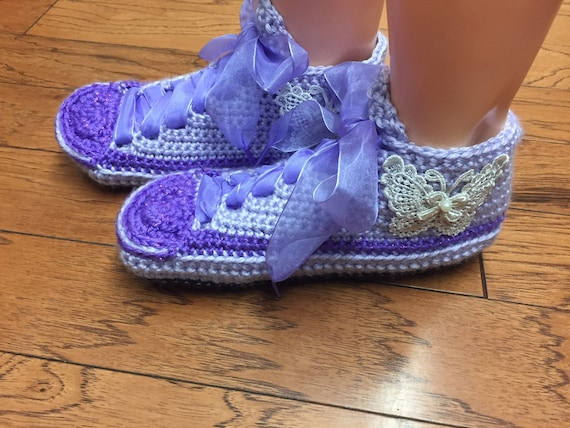 butterfly 10 slippers shoes shoes tennis crocheted 368 Crocheted crochet slippers tennis sneaker purple 8 Listing slippers Womens sneakers ZPtnfq