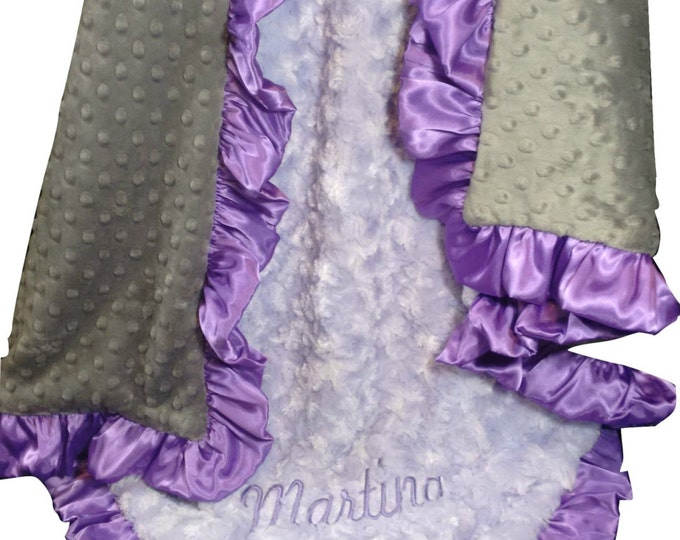 Lavender Rose Swirl and Charcoal Gray Minky Dot Baby Blanket, Orchid Ruffle - available in three sizes