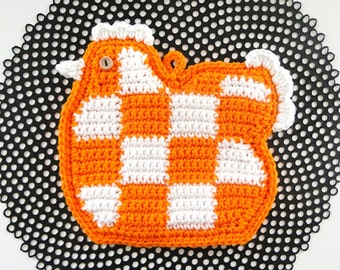 Checked Chicken Potholder Orange and White - Crocheted Chicken Potholder - Chicken Pot Holder - Chicken Hotpad - Chicken Trivet