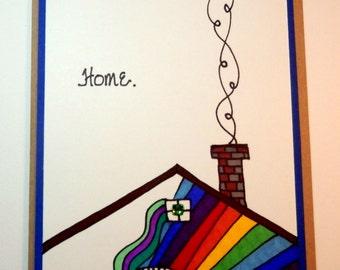 Greeting Card, Handmade, Original art, New Home