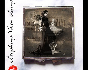 Gothic Pill Box - Compact Mirror - Pill Case - Hand Mirror - Diaper Bag Mirror - Purse Mirror - Makeup Mirror - Dark Beauty Style-A