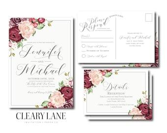 Vintage Wedding Invitation RSVP Postcard Info Card Set Floral Suite Vintage Floral Floral Wedding Vintage Wedding Wedding Set #CL338