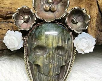 Labradorite Skull pendant