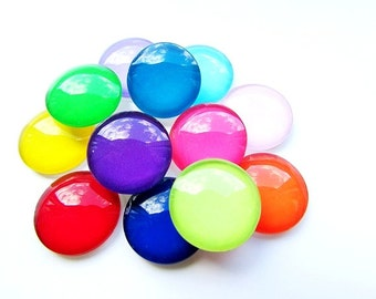 10pcs Assorted Glass Cabochons 16mm Mix Color Cabochons Round Cabochon Flat Back Craft Supplies Jewelry Supply