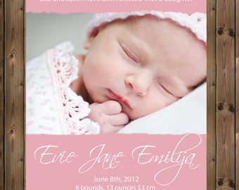 Baby Girls Printable Birth Announcement - Digital Jpg File