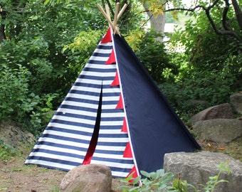 Ready to Ship Teepee, Two Sizes, Can Include Window, Kids Tent, Tee Pee, Teepee Tent, Playhouse, Nautical Teepee