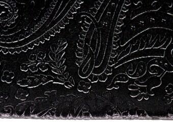 Black Paisley Design Velvet Fabric Fat Quarter