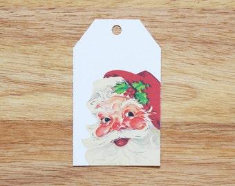 Retro Santa Holiday Christmas Gift Tags - Set of 6
