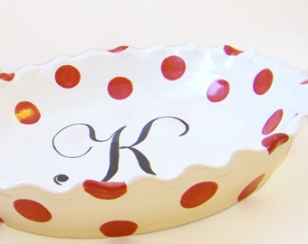 Polka Dot Pie Dish - Personalized Pie Plate - Polka Dot & Monogram Pie Plate - Personalized Initial Baking Dish - Fun Ceramic Pie Plate Gift