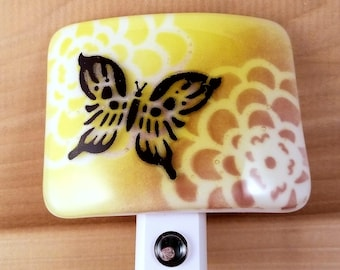 Fused Glass Yellow and Deep Purple Zinnia Flower with Black Butterfly Silhouette LED Dusk to Dawn Nightlight Made to Order