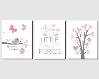 Pink Grey Wall Art, Girls Room Decor, You are my sunshine, Baby Girl Nursery Decor, And though she be but little, Set of 3, Art Prints