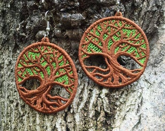FREE SHIPPING Tree Of Life, Wood, Natural, Forest, Embroidery, Gypsy, Boho, Bohemian, Festival